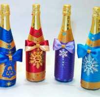 Как украсить бутылку шампанского на новый год своими руками. Украшение бутылок на новый год лентами
