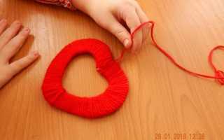 Сердечки из пряжи. Как сделать объемное сердечко из ниток. Сердце из газетных трубочек