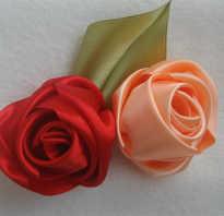 Мелкие розочки из лент своими руками. Розы из атласных лент. Пион из проволочной ленты